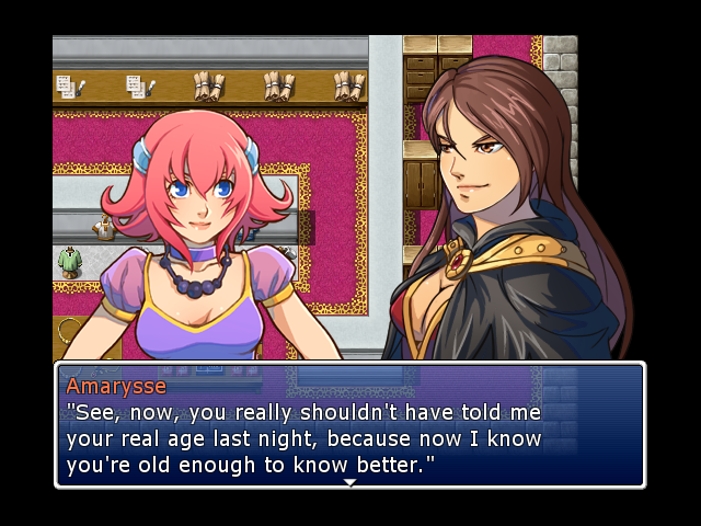 This particular piece of dialogue only shows up if, indeed, Amarysse discovered Feena's real age the previous night -- an optional bit of dialogue that some players might miss.